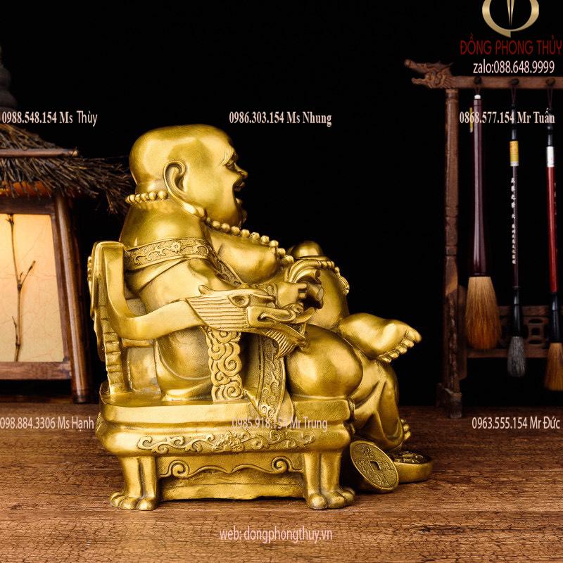 Tượng di lặc bằng đồng ngồi ngai rồng Cao 24,5cm ngang 24,5cm sâu 24,5cm nặng 5,2kg