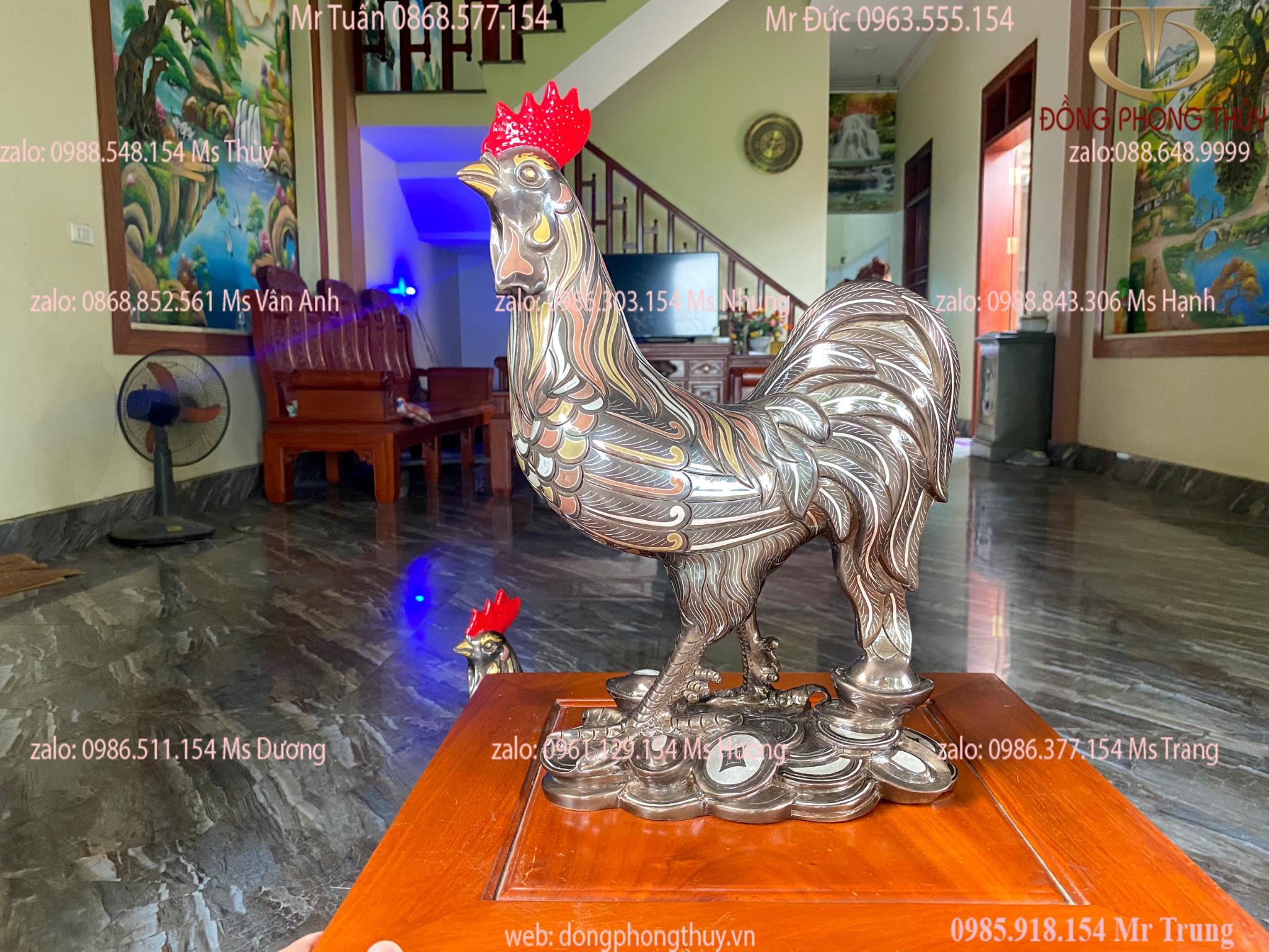 Tượng gà bằng đồng đỏ khảm ngũ sắc cao 38cm nặng 12kg