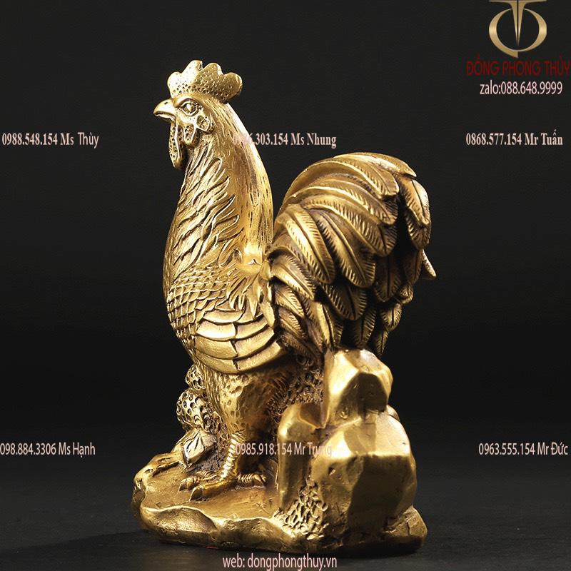 Tượng gà phong thủy bằng đồng