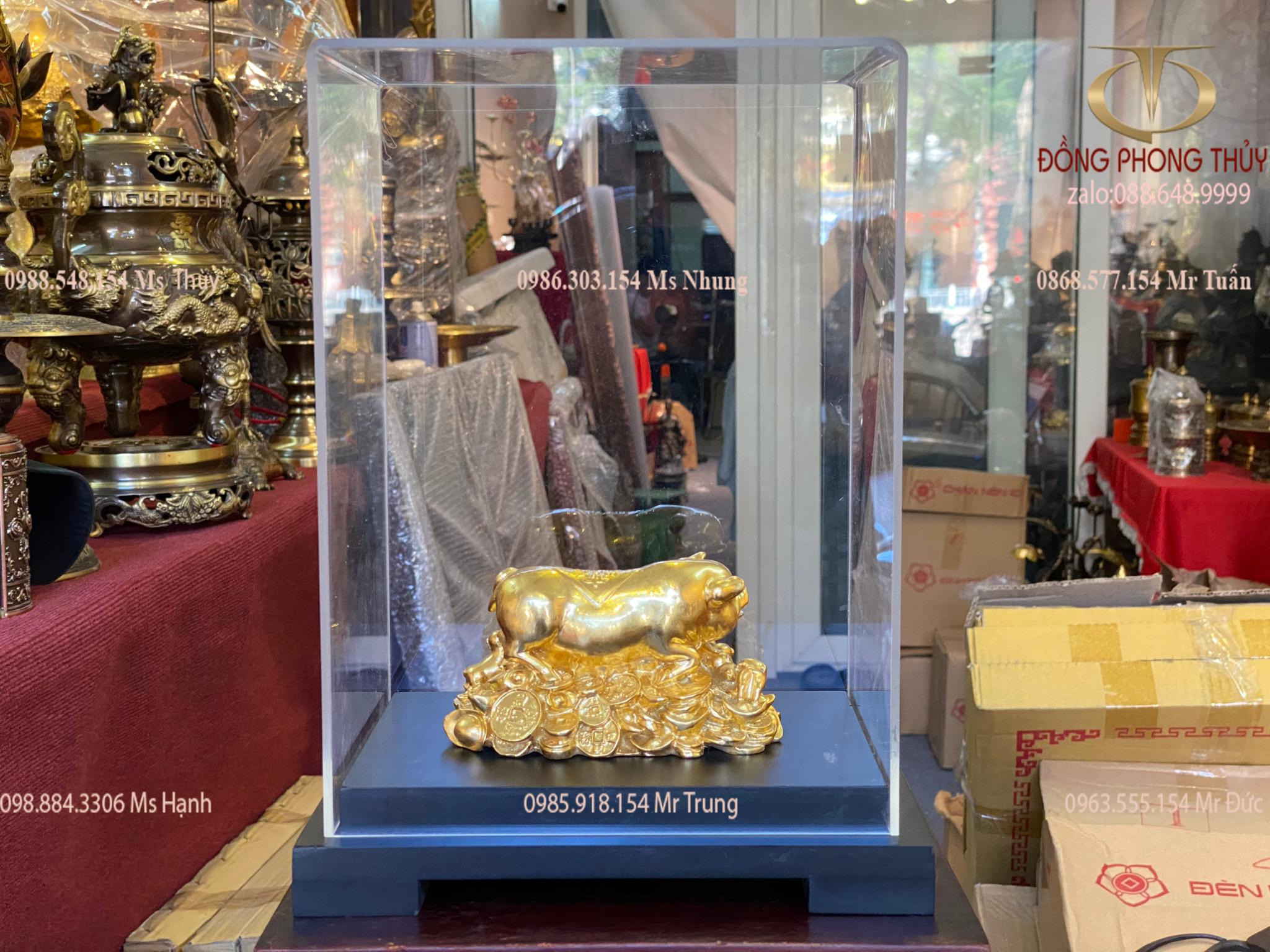 Tượng Heo phong thủy bằng đồng dát vàng 24k