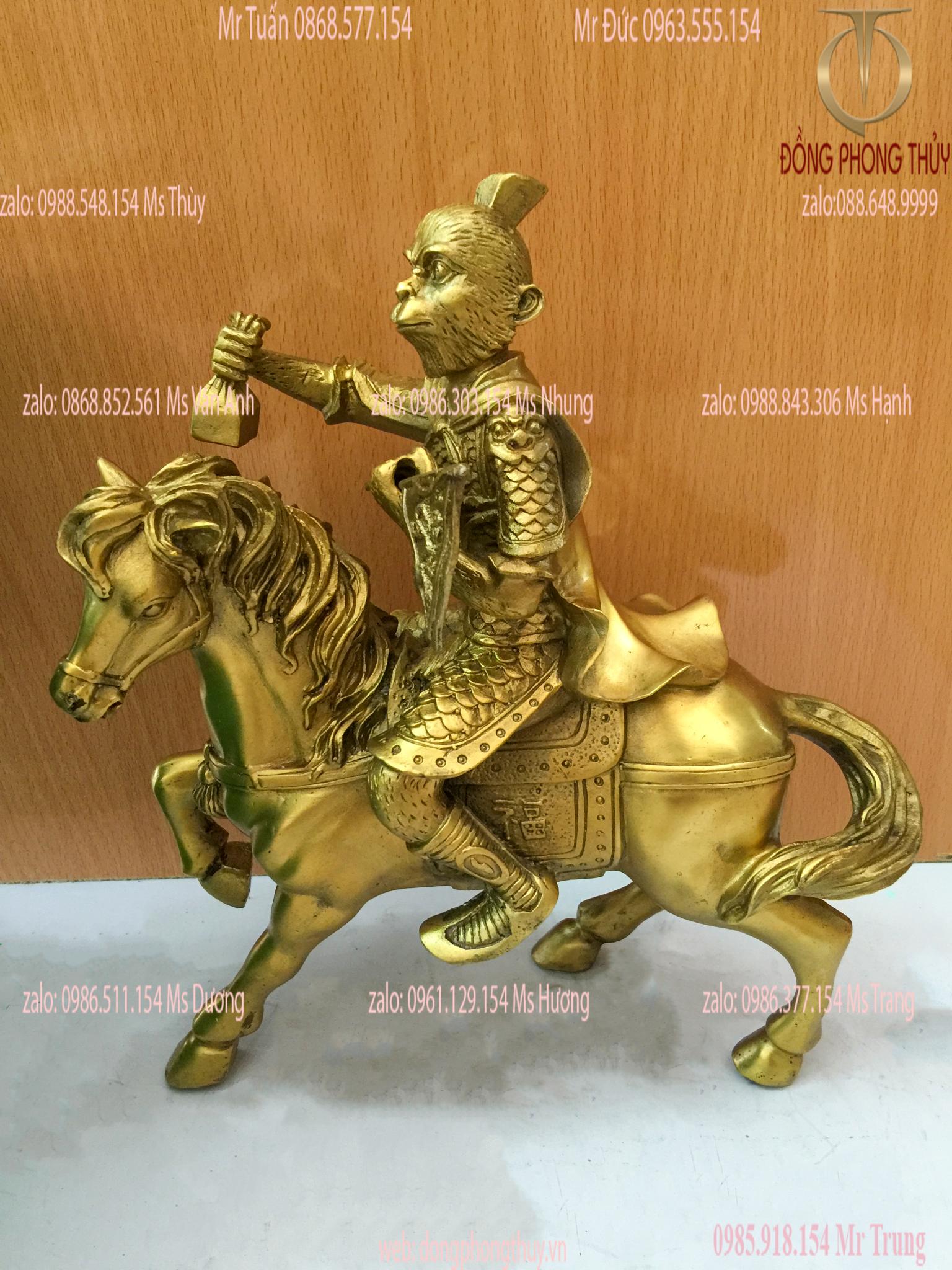 Tượng mã thượng phong hầu khỉ cưỡi ngựa phong thủy bằng đồng