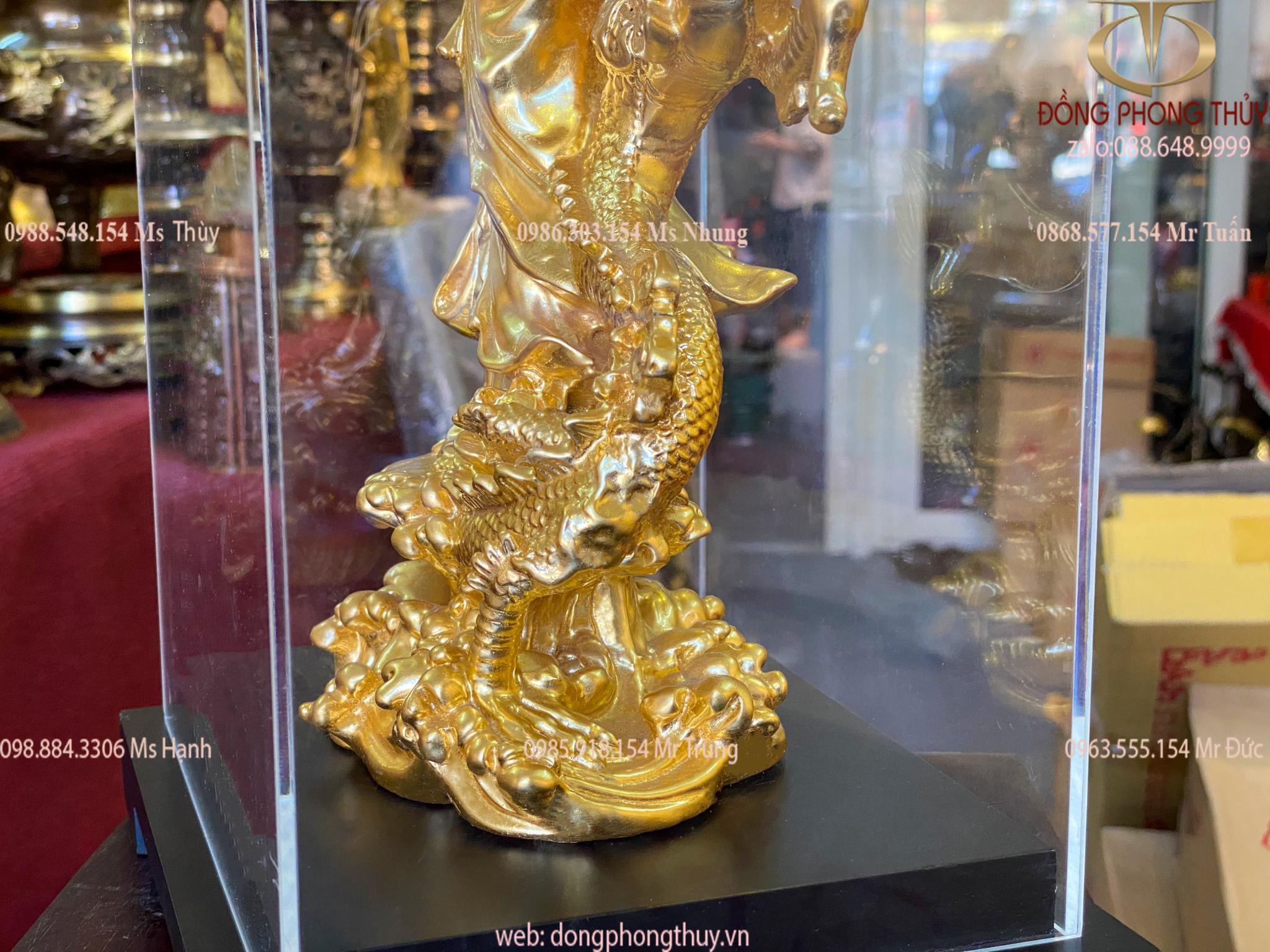 Tượng quan âm cưỡi rồng bằng đồng thếp vàng 24k cao 26,5
