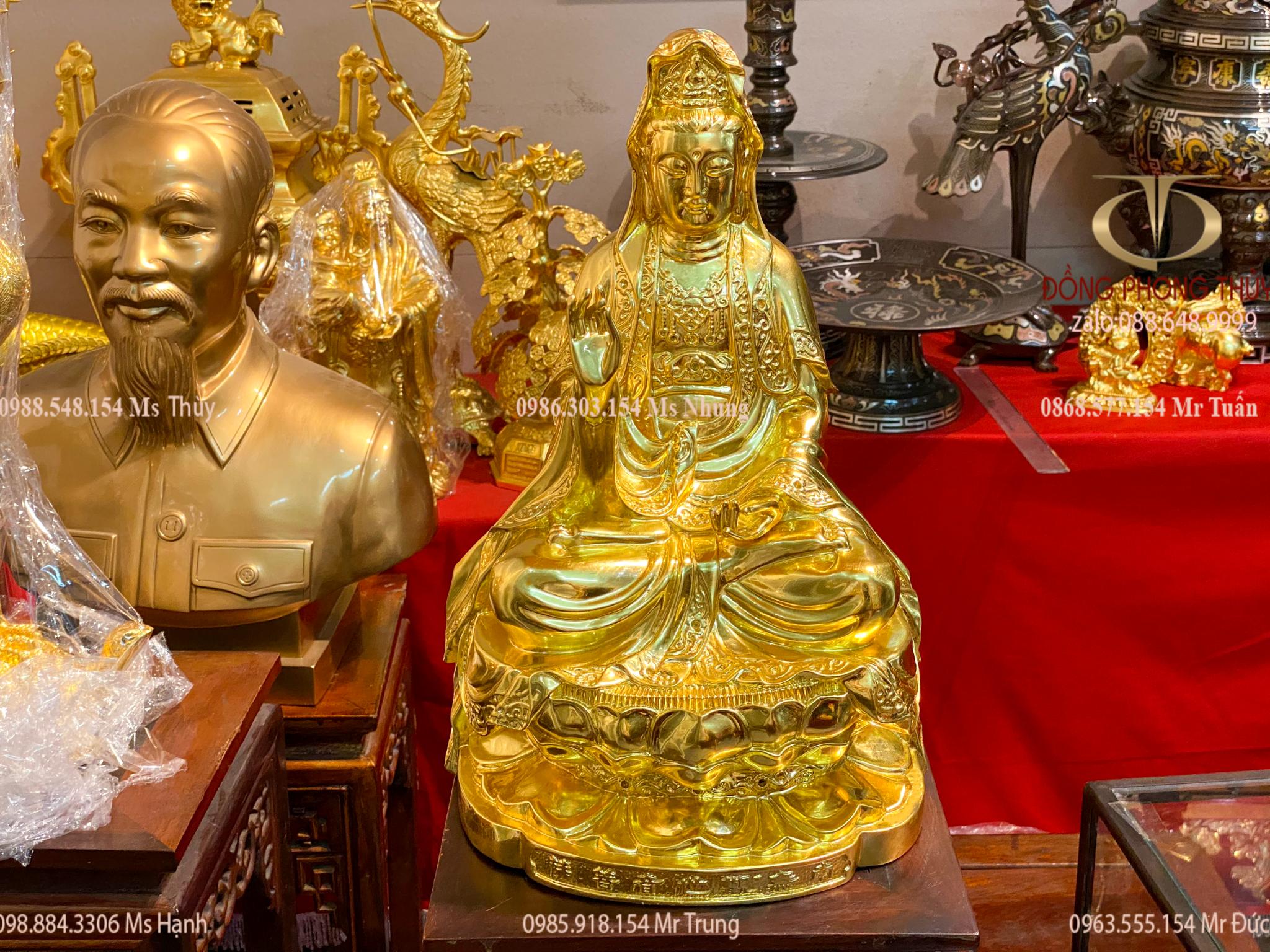 Tượng Quan Âm ngồi đài sen bằng đồng dát vàng 24k