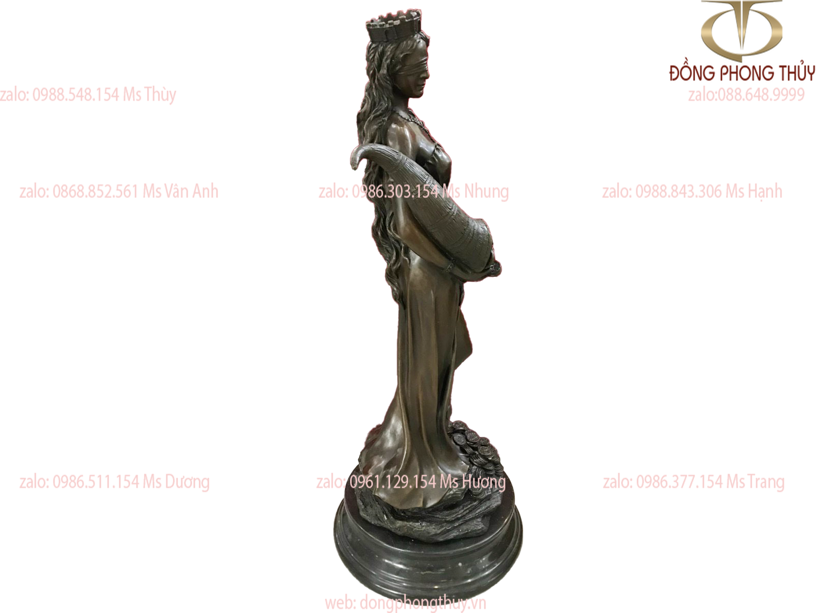 Tượng nữ thần may mắn bằng đồng cao 78 ngang 30 nặng 27kg