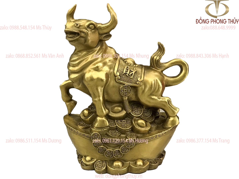 Tượng trâu đứng thỏi vàng bằng đồng cao 21 dài 17 nặng 2kg