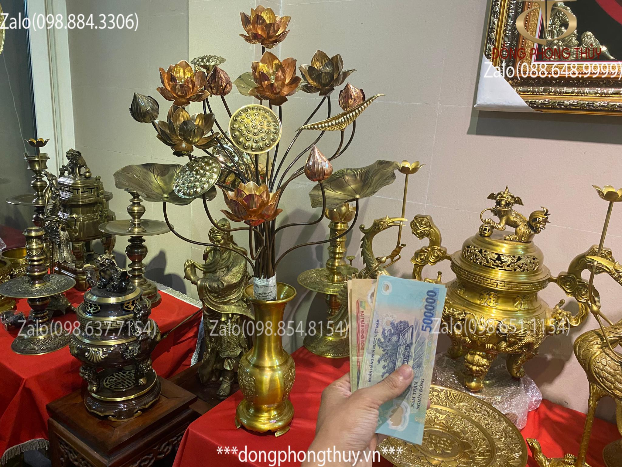 Lọ hoa 35cm vàng đậm vàng bó hoa đồng 20 cành