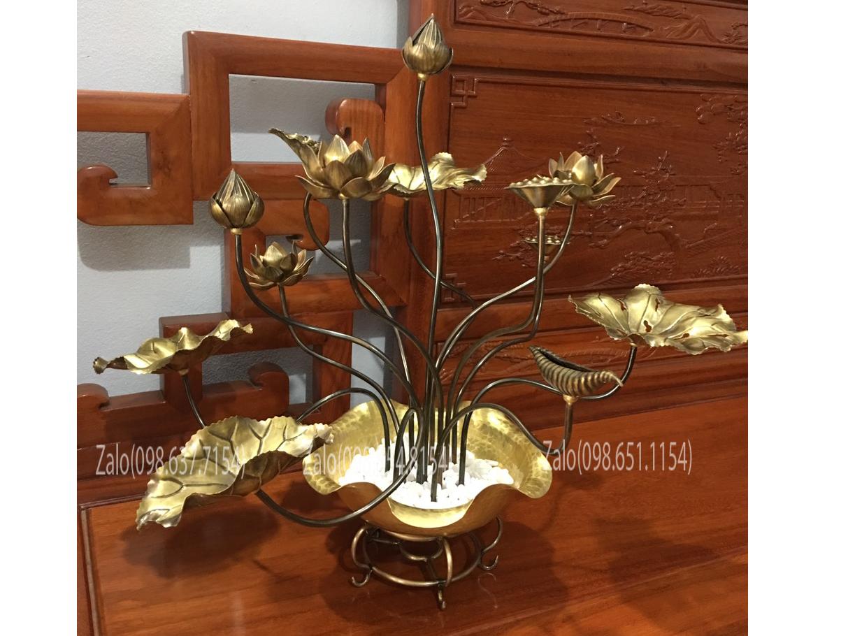 Chậu hoa sen đồng trưng bày Đỏ Vàng - Đế Chậu đồng Cao 55cm 15 cành