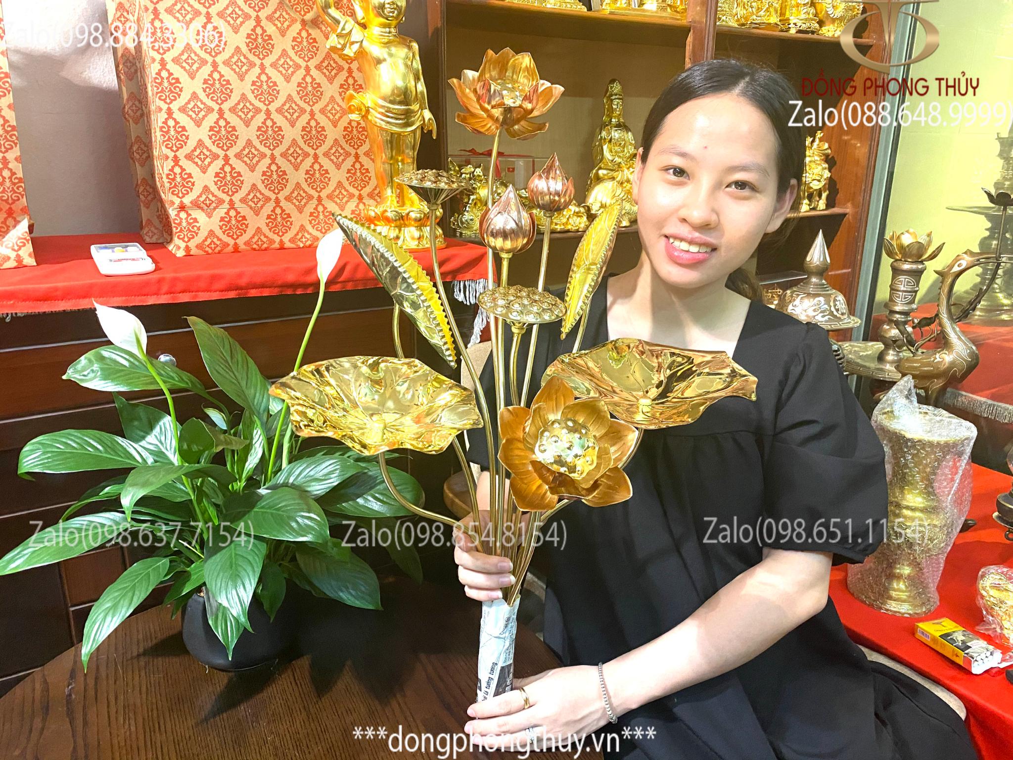 Hoa sen đồng 10 cành bằng đồng cao 70cm