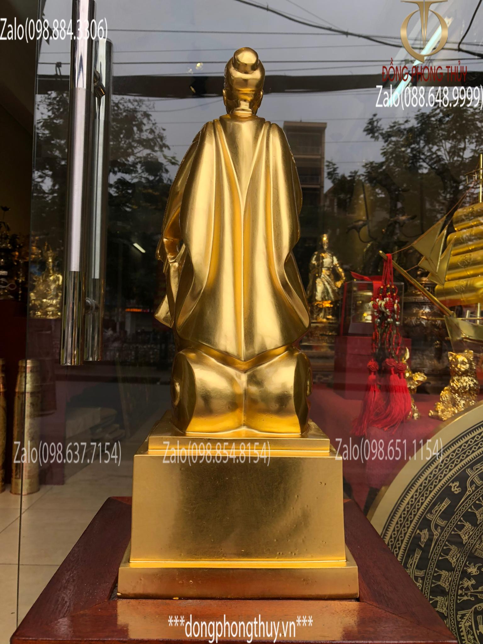 Tượng Trần Quốc Tuấn Hưng Đạo Đại Vương bằng đồng đỏ dát vàng 24k cao 50cm nặng 10kg