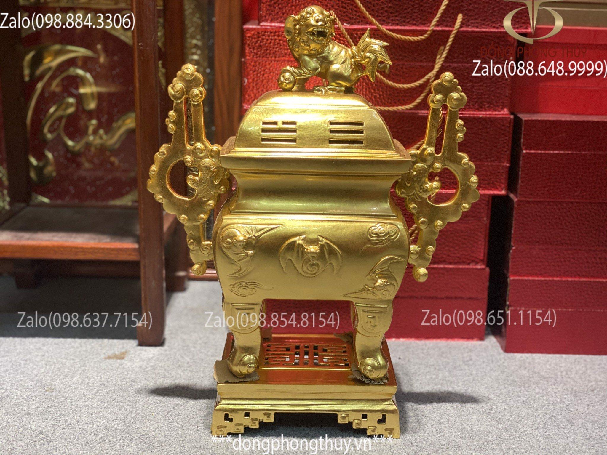 Giá bộ đỉnh đồng ngũ sự, đỉnh đồng vuông cao 55cm dát mạ vàng 24k, đỉnh đồng đại bái