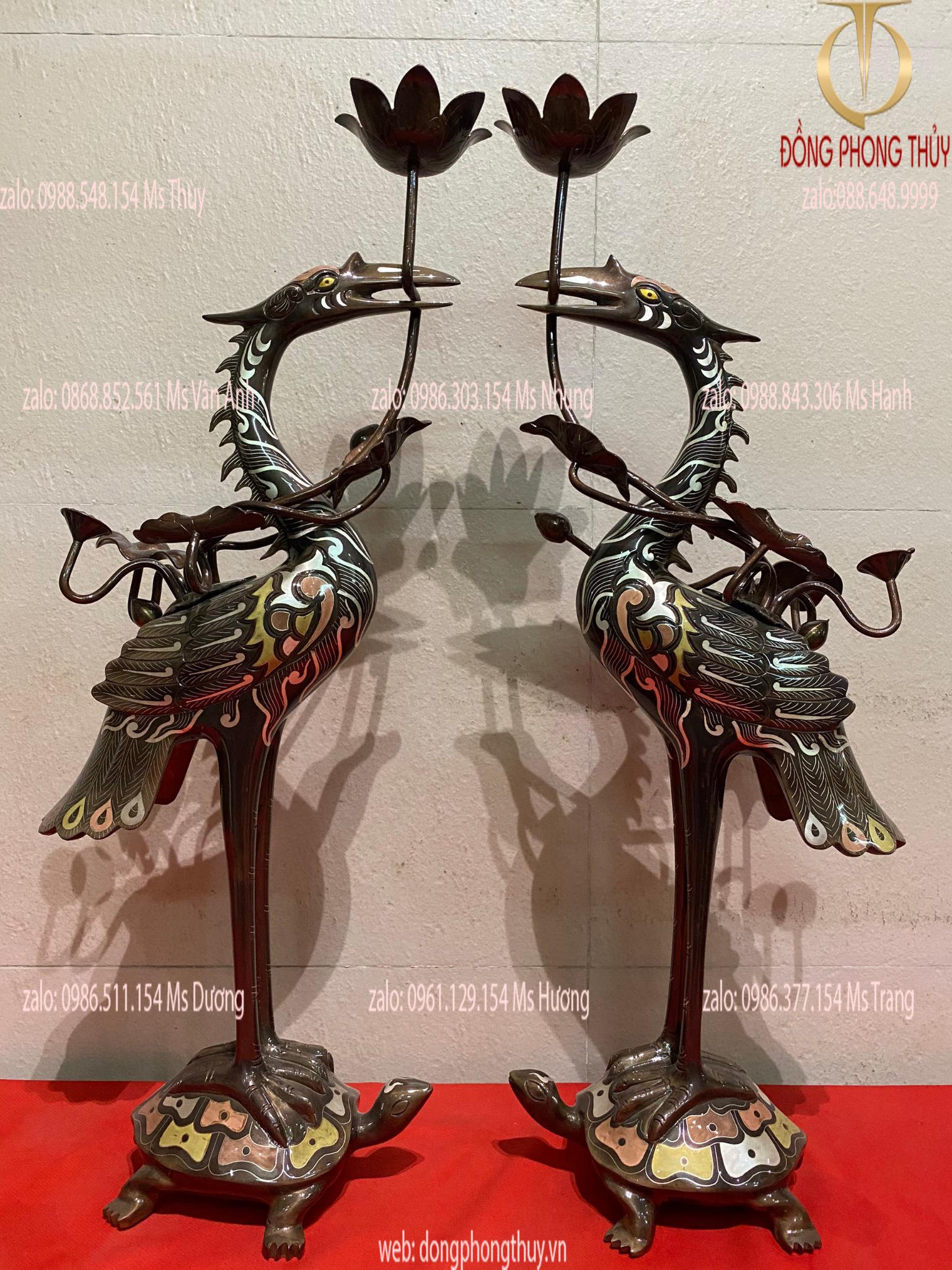 Đôi hạc đồng khảm ngũ sắc cao 55 nặng 8,7kg
