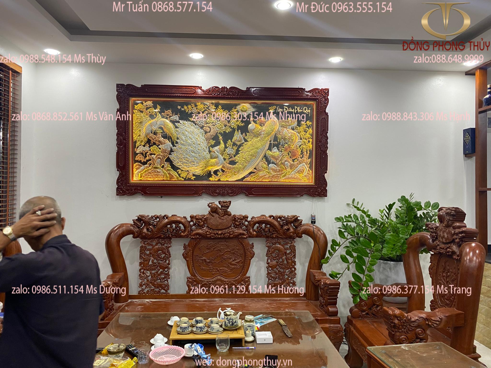 Tranh đồng Ngọc Đường Phú Quý 1m2*2m3 khung lá guột dát vàng bạc