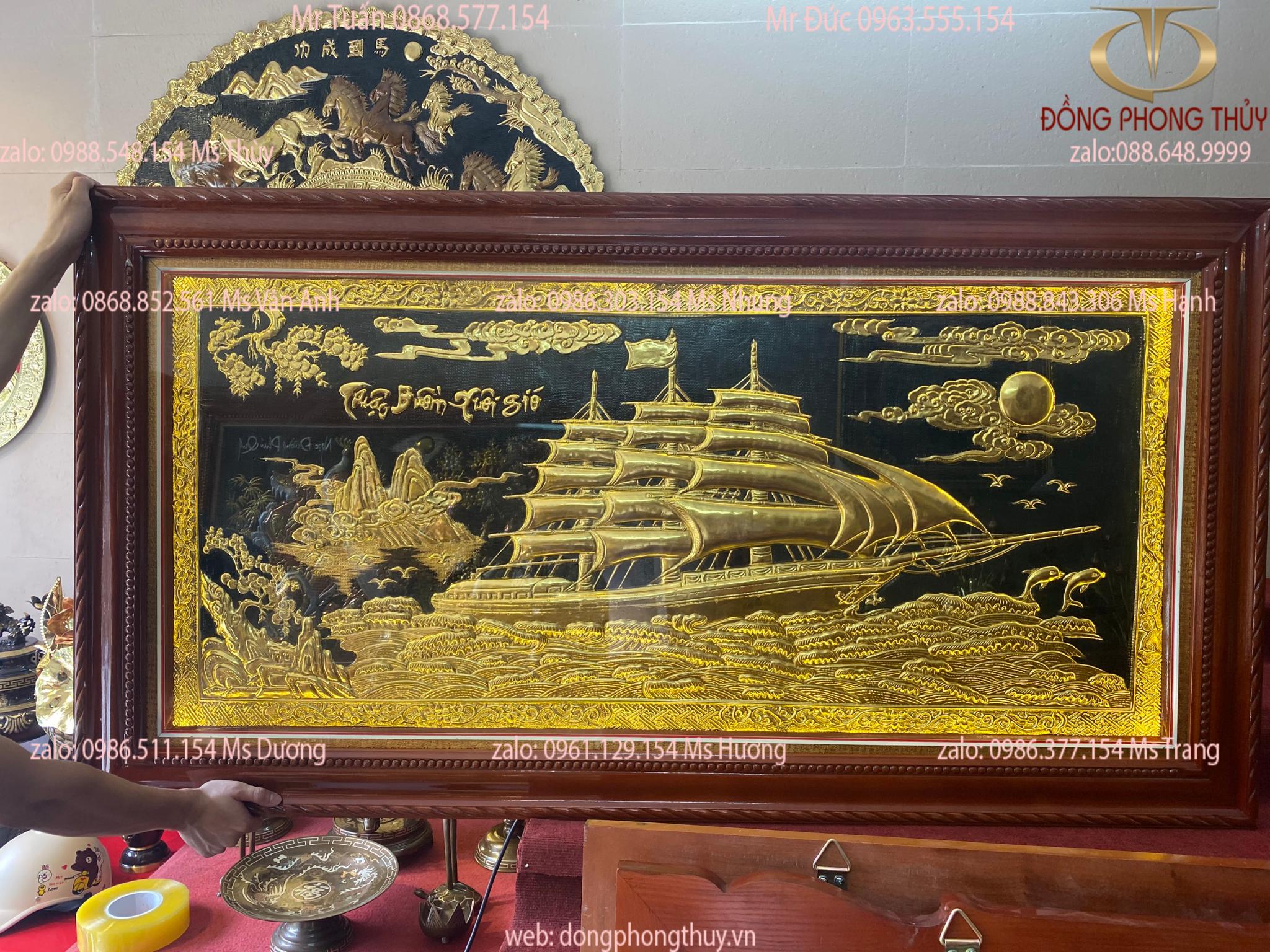 Tranh Thuận Buồm Xuôi Gió dát vàng 24k 90*1m7 bằng đồng nguyên tấm thúc thủ công