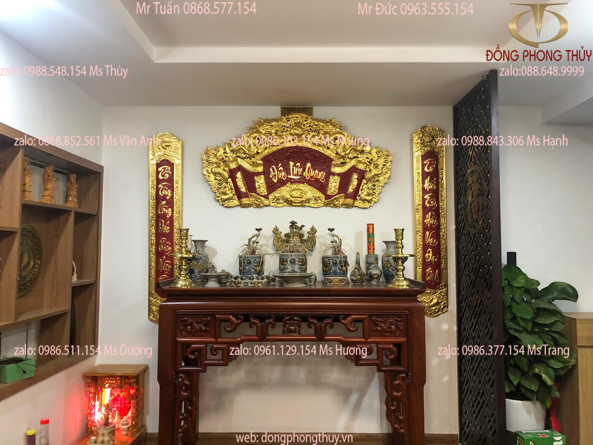 Bộ cuốn thư câu đối bằng đồng dát vàng 24k 1m55 giao cho chú Dũng ở timecity Hà Nội