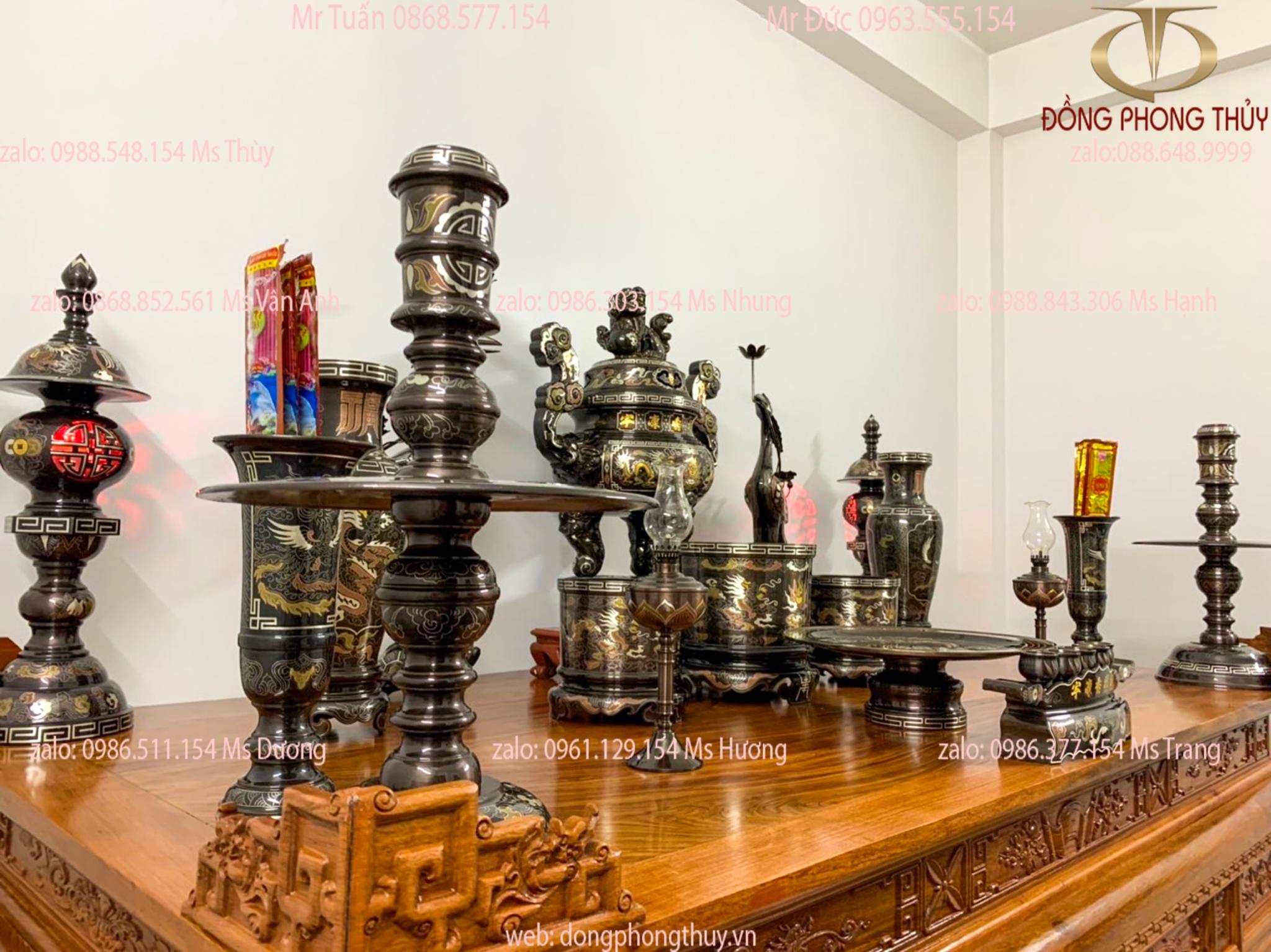Bộ đỉnh đồng khảm ngũ sắc 70cm đầy đủ món giao cho anh Hùng ở Hải Phòng