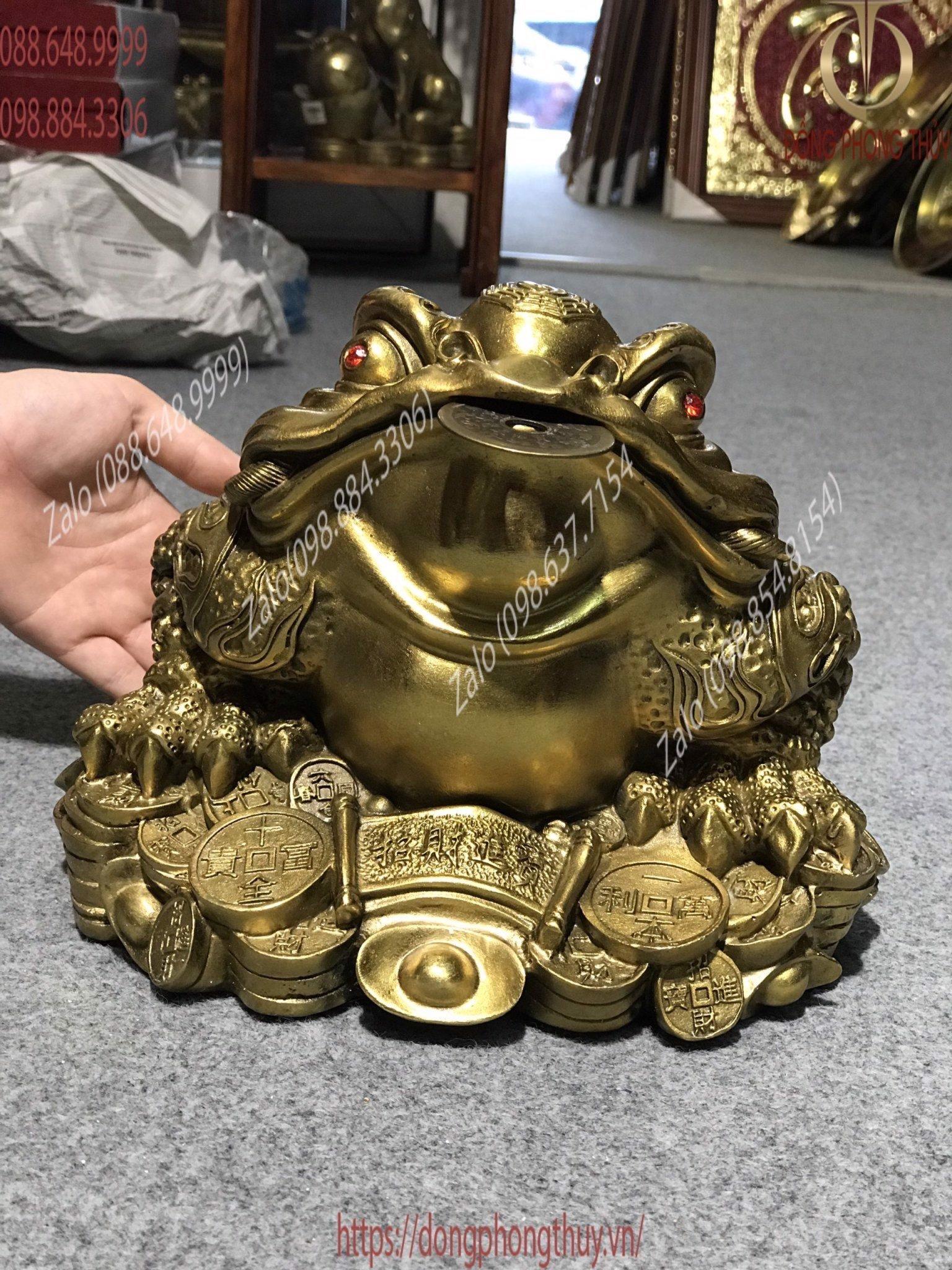 Tượng thiềm thừ cao 20cm bằng đồng