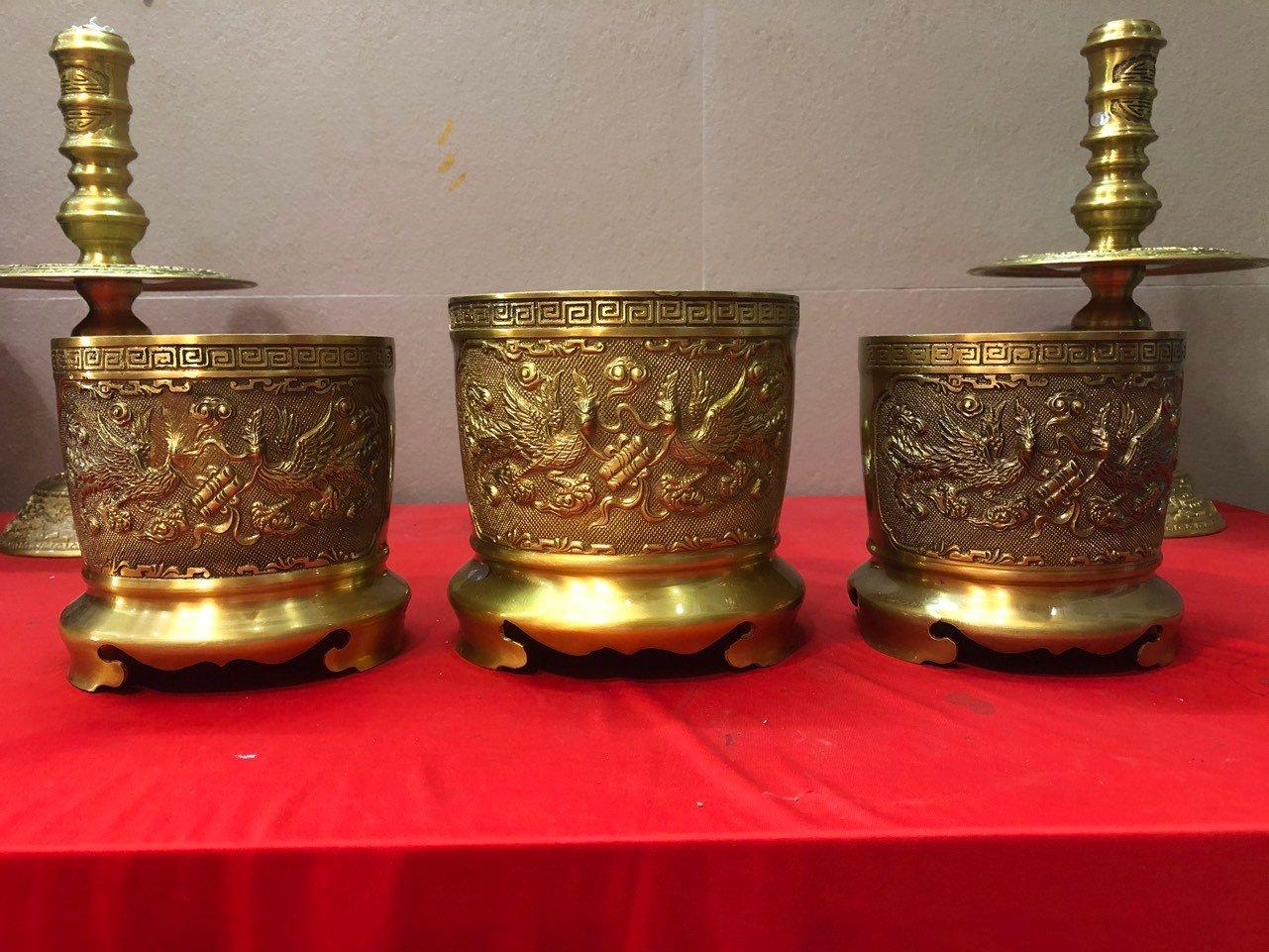 Bộ 3 bát hương đồng thờ cúng 18+2 bát 16