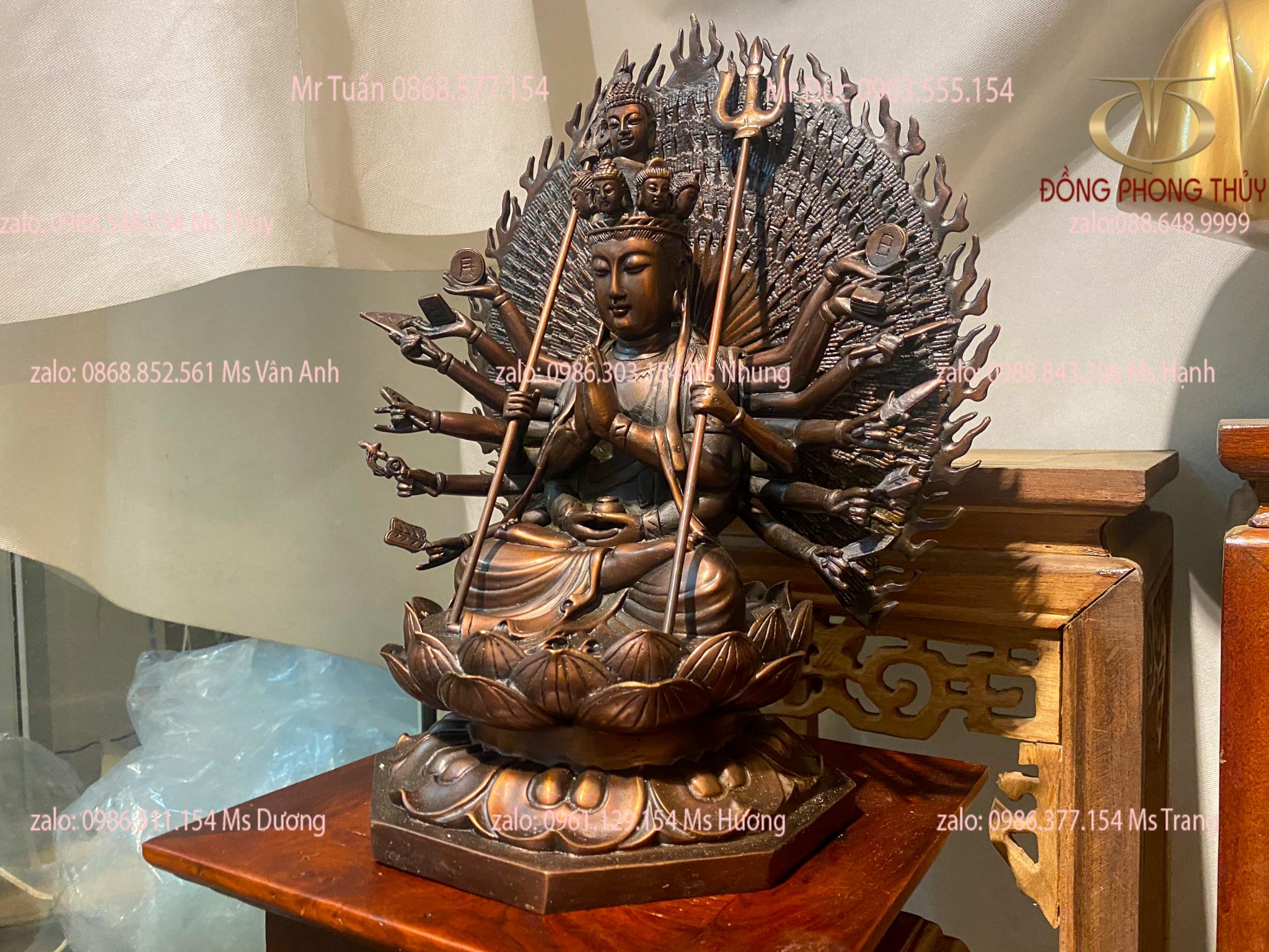 Tượng thiên thủ thiên nhãn bằng đồng cao 34 nặng 5,7kg màu hai lai