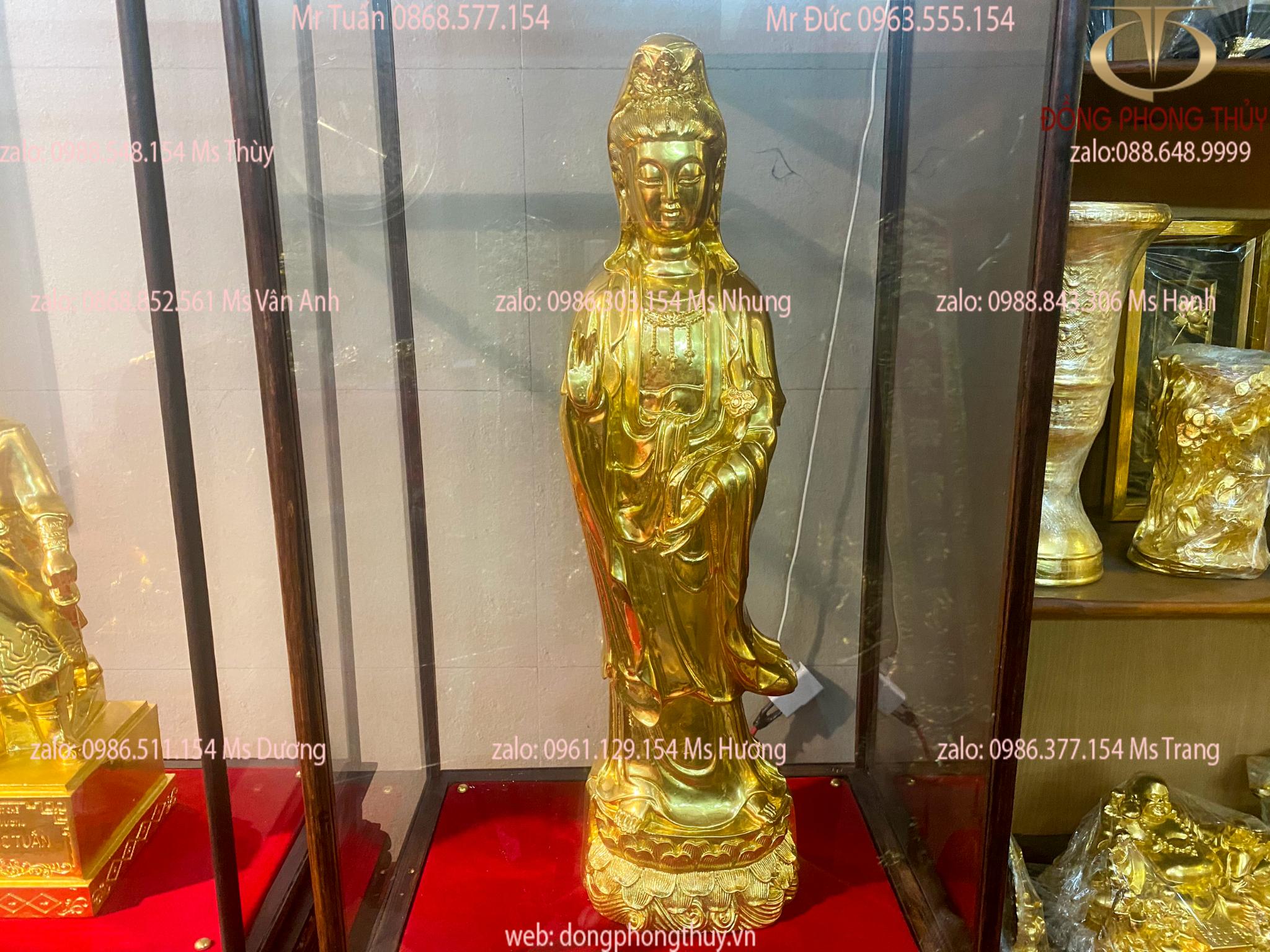 Tượng phật quan âm bồ tát đứng cao 62cm bằng đồng dát vàng 24k