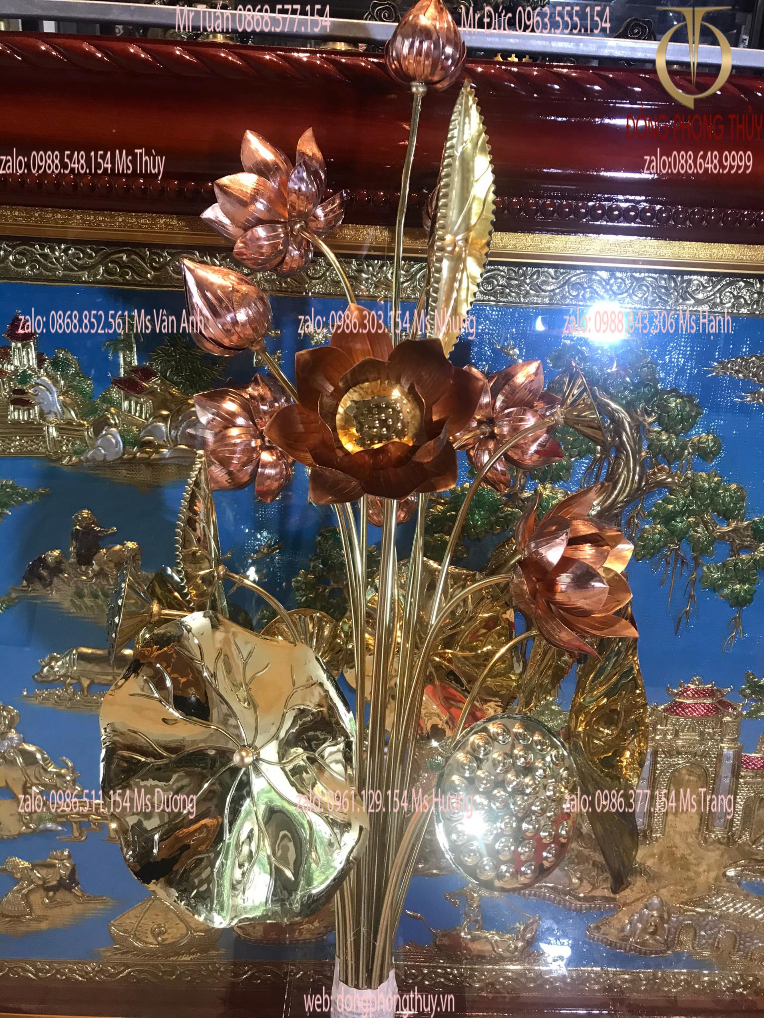 Bó hoa sen 20 cành bằng đồng vàng cao 90cm