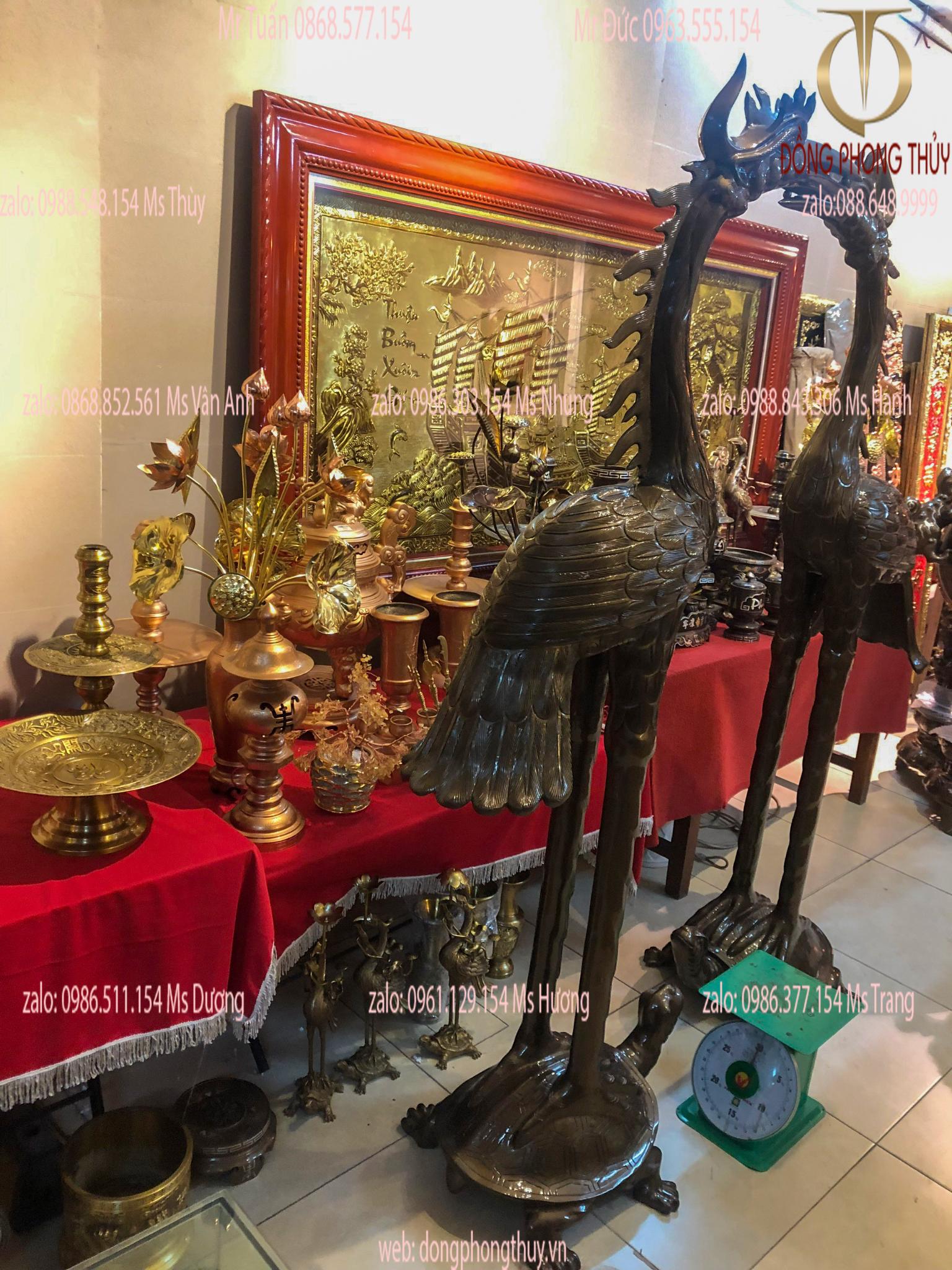 Đôi hạc đồng-hạc thờ 1m97 nặng 150kg đồng đỏ