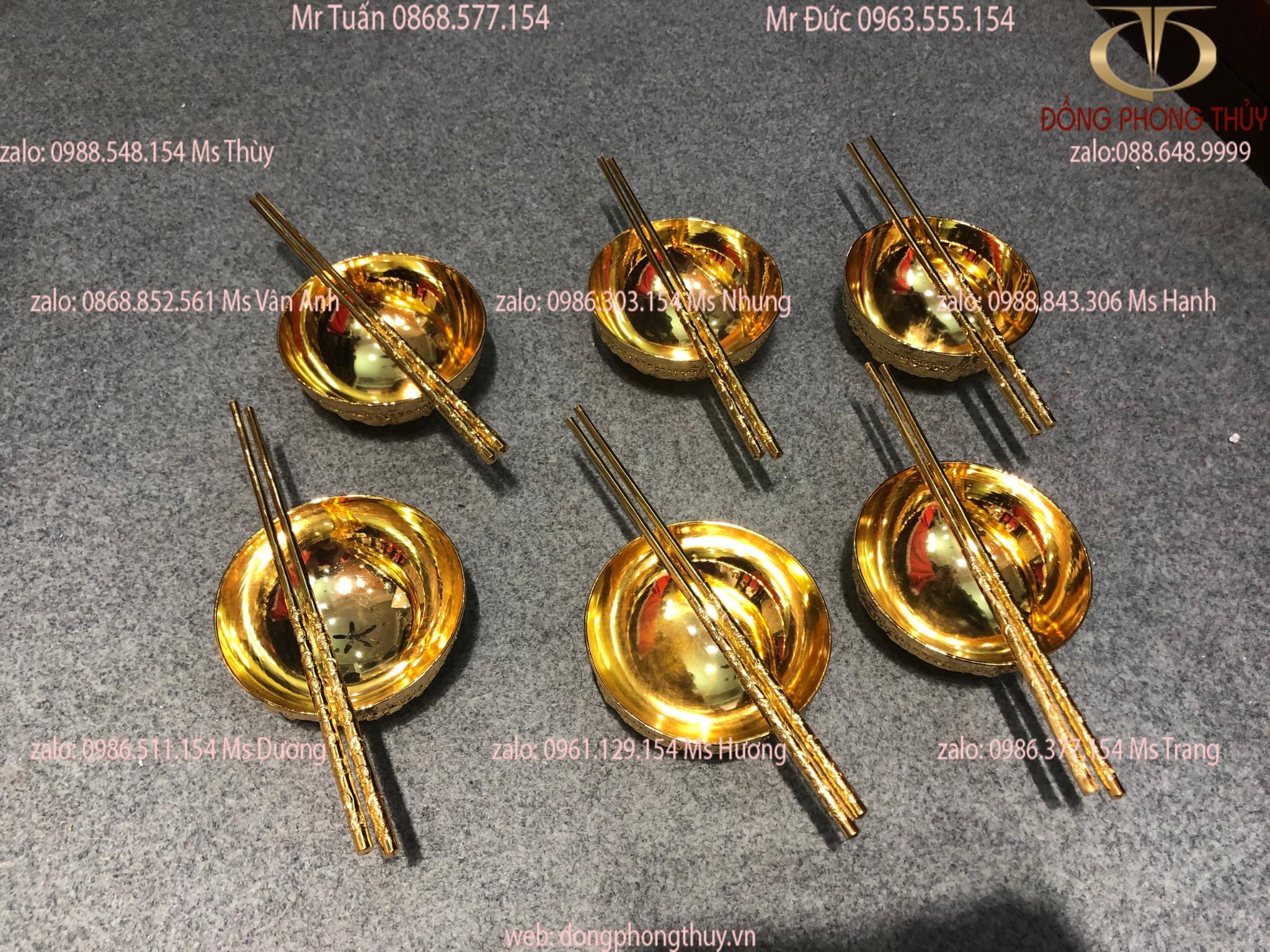 Bộ 6 bát đũa bằng đồng mạ vàng 24k