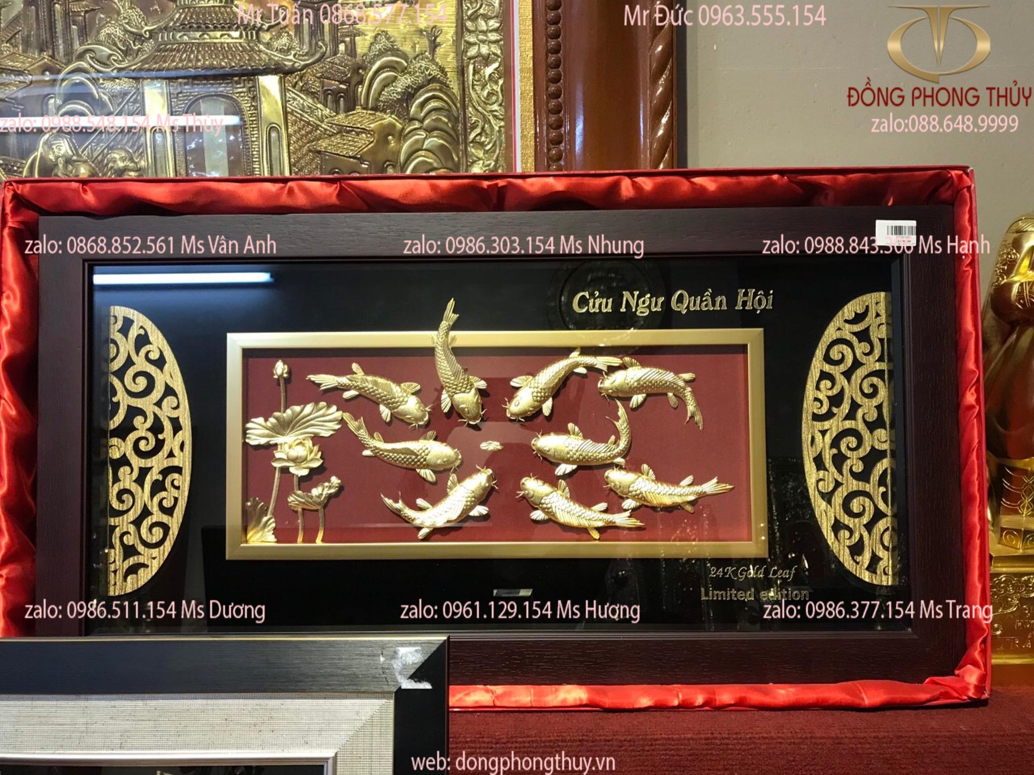 Quà tặng sếp: Tranh Cửu Ngư Quần Hội mạ vàng 24k