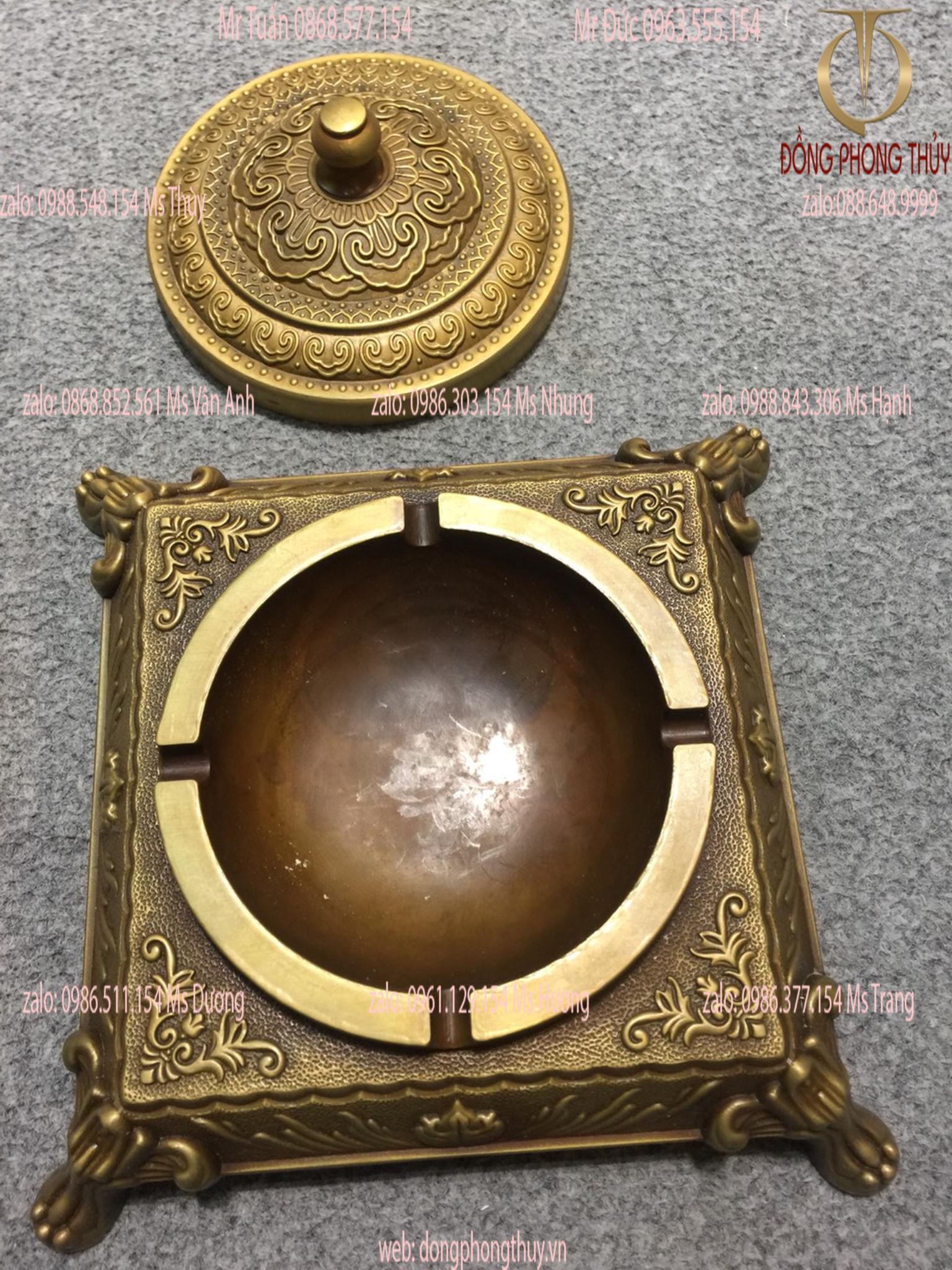 Gạt tàn bằng đồng tân cổ điển 20*20cm nặng 1,5kg