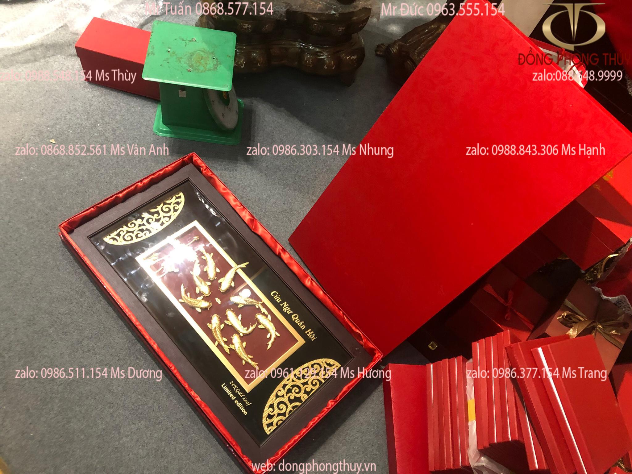 Tranh quà tặng sếp Cửu Ngư Quần Hội 81*42cm Vip mạ vàng 24k