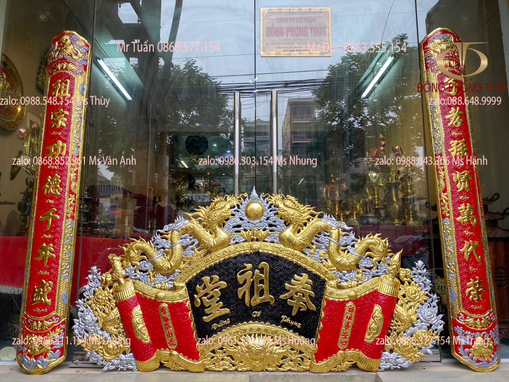 Phụng Tổ Đường: cuốn thư câu đối 1m76 dát vàng bạc nặng 17kg đẹp