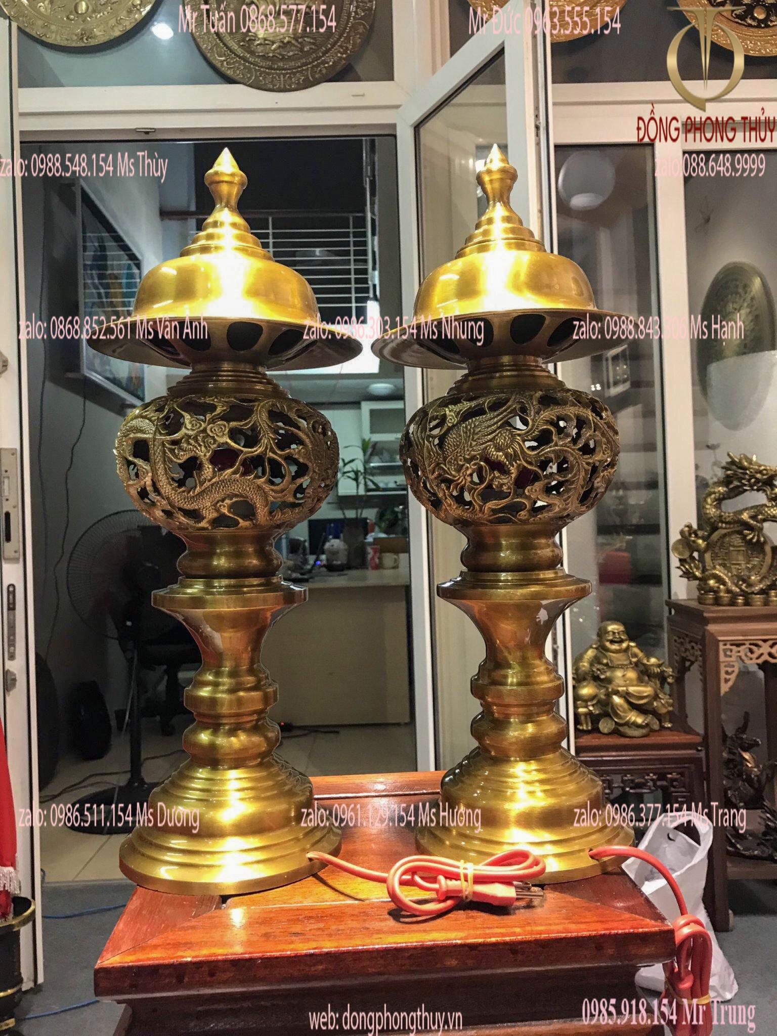 Đôi đèn thờ cúng rồng phượng cao 53cm