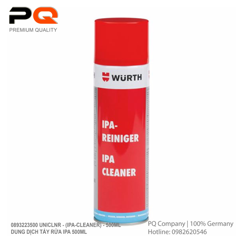 Dung dịch tẩy rửa IPA 500ml | 0893223500 UNICLNR - (IPA-CLEANER) - 500ML | Wurth | Made in Germany | Code 3.10.400.1006