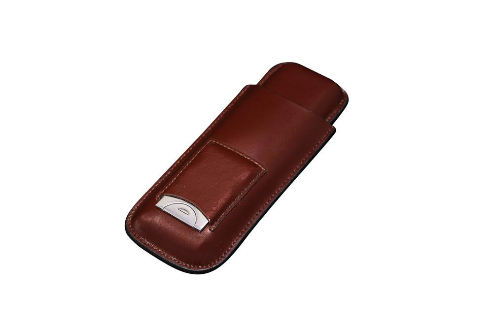 Bao da cigar 2 điếu - FK 173 BR - Leather Cigar Case With Cutter