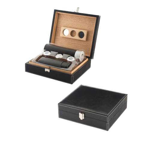 Black Cigar Humidor Gift Set