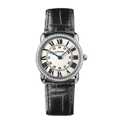 Cartier Ronde Louis Cartier 29mm White Gold Diamonds Leather