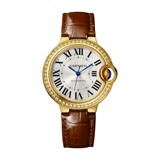Cartier Ballon Bleu de Cartier 33mm Yellow Gold Diamonds Leather