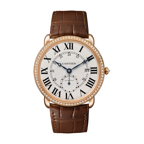 Cartier Ronde Louis Cartier 40mm Pink Gold Diamonds Leather