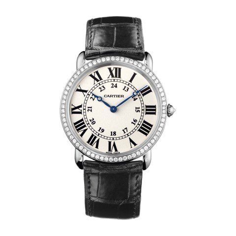Cartier Ronde Louis Cartier 36mm White Gold Diamonds Leather