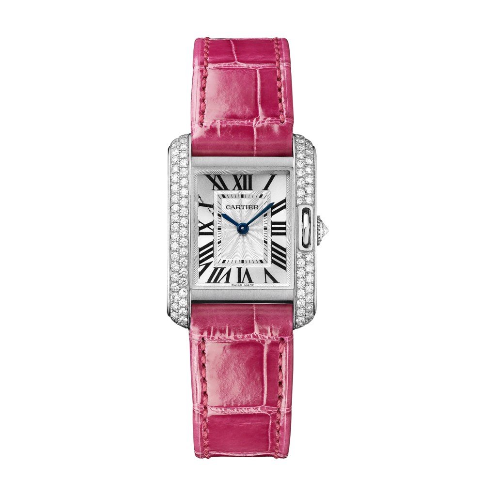 Cartier Tank Anglaise Small Model White Gold Leather Diamonds