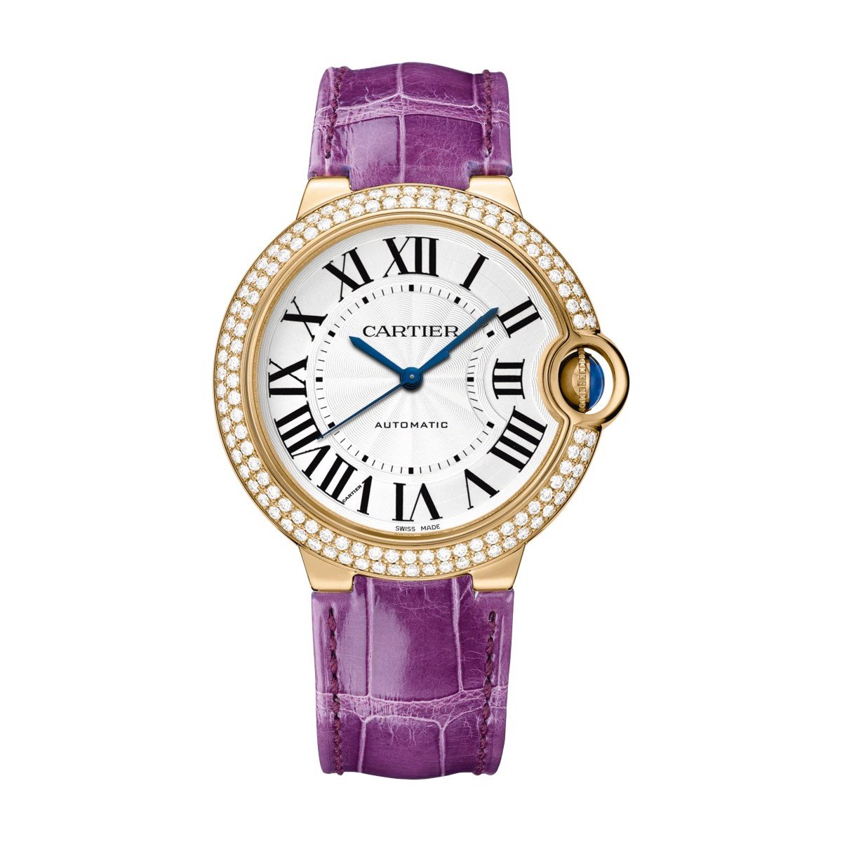 Cartier Ballon Bleu de Cartier 36mm Pink Gold Diamonds Sapphire Leather