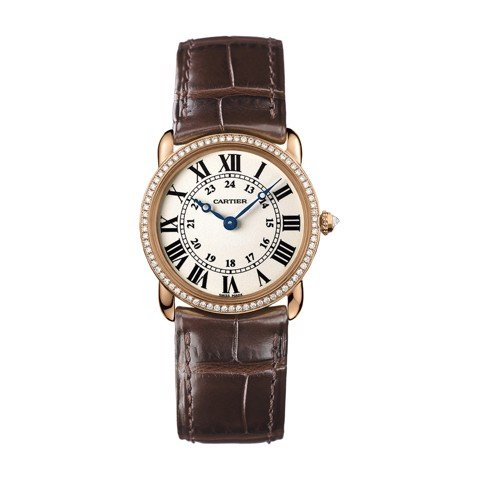 Cartier Ronde Louis Cartier 29mm Pink Gold Diamonds Leather