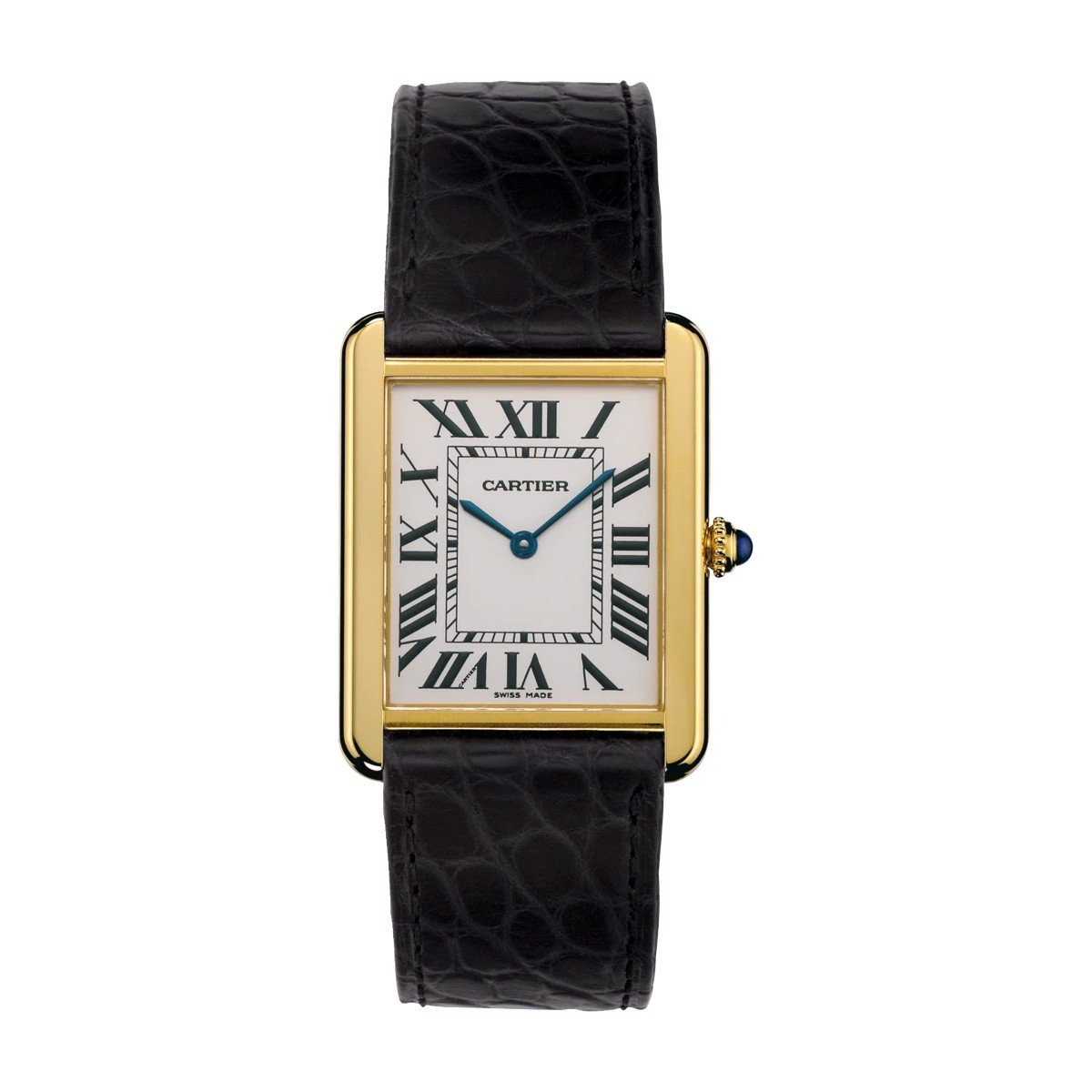 Cartier Tank Solo Large Model Yellow Gold Leather