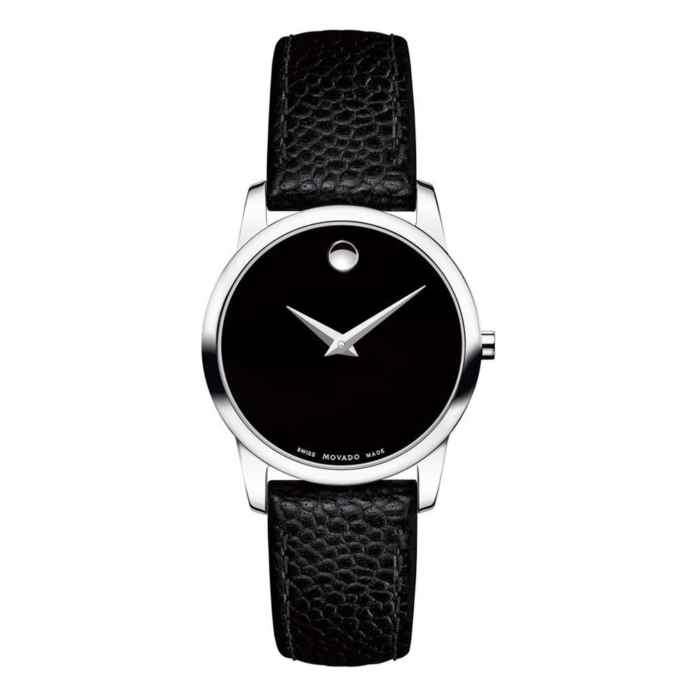 Đồng hồ nữ Movado Museum Black Dial Black Leather Strap Ladies Watch 26mm