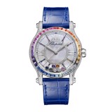 Chopard Happy Sport Automatic Rainbow Sapphires White Gold Blue Leather strap 36mm