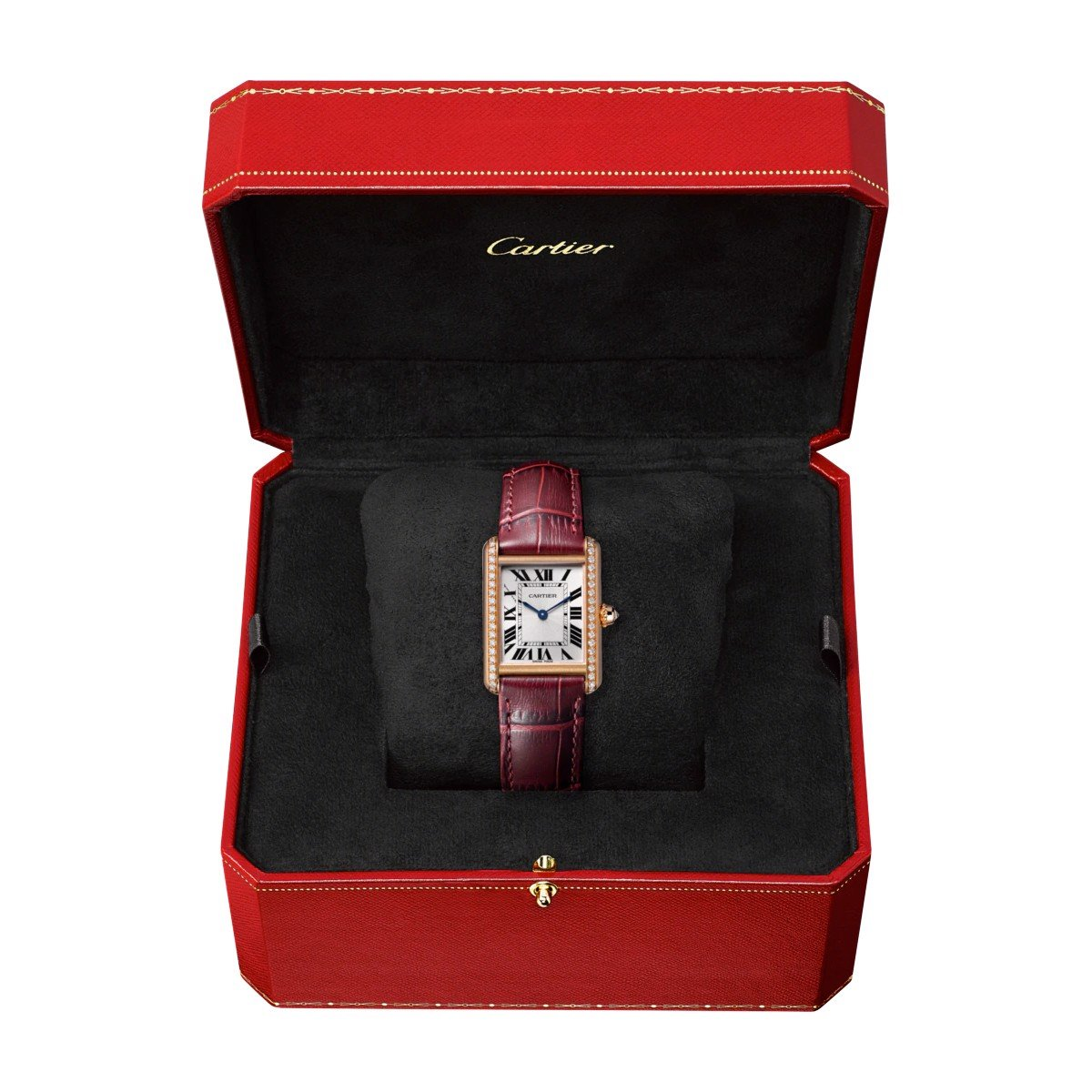 Cartier Tank Louis Cartier Small Model Pink Gold Leather Diamonds