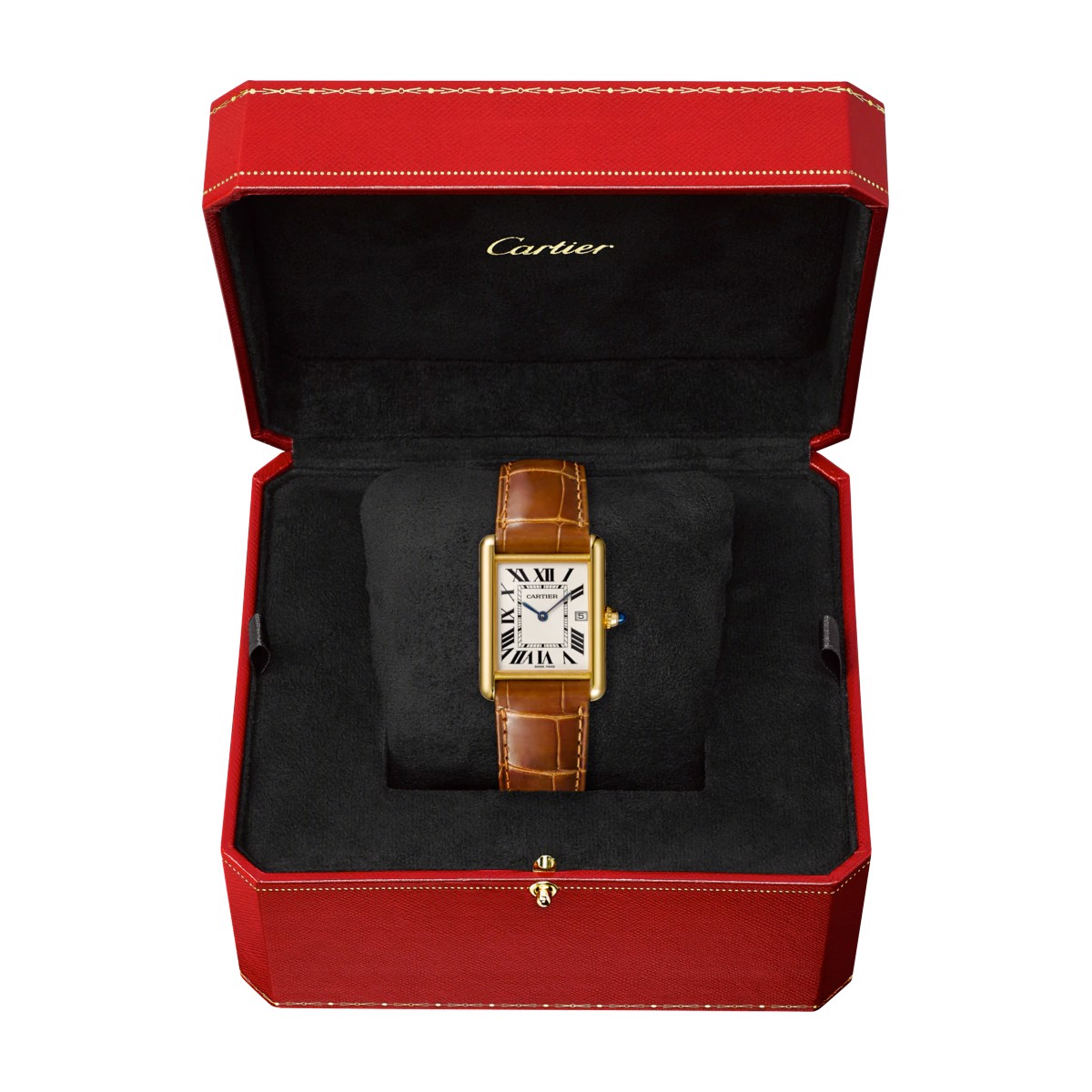 Cartier Tank Louis Cartier Large Model Yellow Gold Leather Sapphire