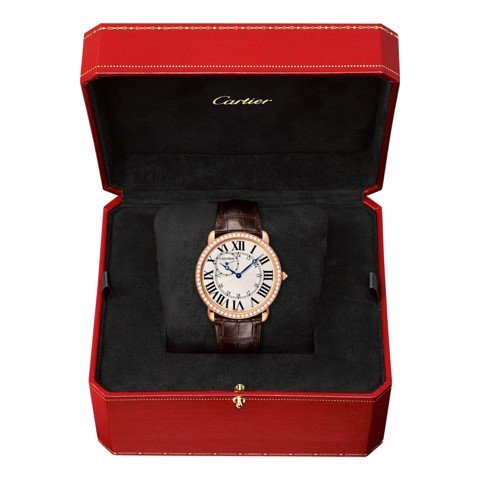 Cartier Ronde Louis Cartier 42mm Pink Gold Diamonds Leather