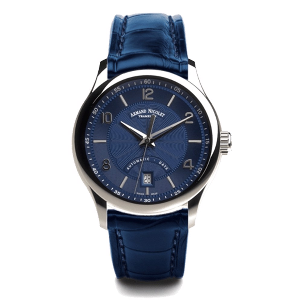 Đồng hồ nam Armand Nicolet M02-4 Steel 316L Blue Dial Leather Strap Mens Watch 42mm