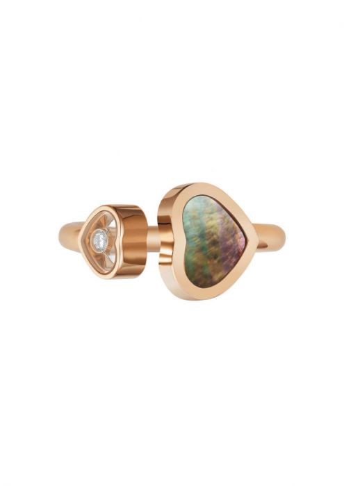 Chopard Happy Hearts Ring Rose Gold and Natural Black Tahitian Mother-of-pearl