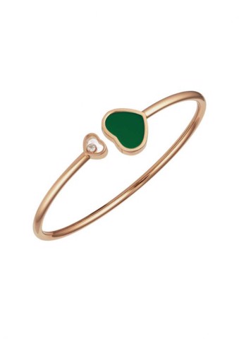 Chopard Happy Hearts Bangle Rose Gold Diamond - Natural Green Agate
